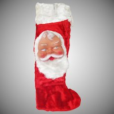 Bijou Toys Plush Fur Christmas Stocking With Rubber Santa Face
