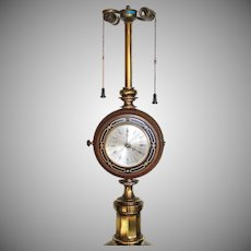Stiffel Brass Wood Clock Barometer Table Lamp
