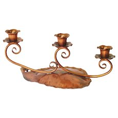Gregorian Copper Leaf Triple Candle Holder Candelabra