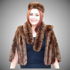 Art Betts Mink Fur Cape Pillbox Hat and Stole Collar Set