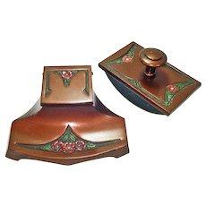 Arts and Crafts Enameled Bronze Inkwell Desk Blotter Set