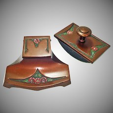 Arts and Crafts Enameled Bronze Inkwell Desk Blotter Set
