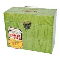Ballonoff Metal Porta File Document Box Green Woodgrain