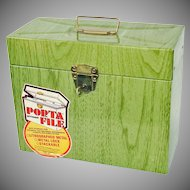 Ballonoff Metal Porta File Document Box Green Woodgrain