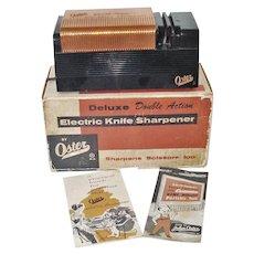 1950s Copper Black Oster Electric Knife Sharpener Original Box