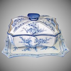 Cherry Blossoms Blue White Porcelain Covered Dish and Platter