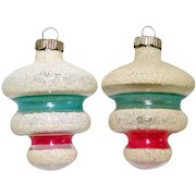 Shiny Brite Unsilvered Mica Tornado War Era Christmas Ornaments