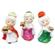 Napco Mini Bone China Christmas 3 Wisemen Nativity Figurines
