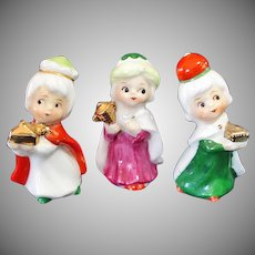 Napco Mini Bone China Christmas 3 Wisemen Nativity Figurines
