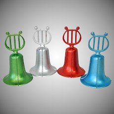 Set 4 Bruce Metal Bells With Lyres Christmas Ornaments