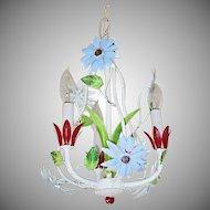 Petite Italian Tole Blue Red Flower Chandelier 3 Light Lamp