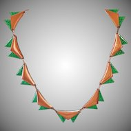 Renoir 1950s Copper and Green Enamel Necklace