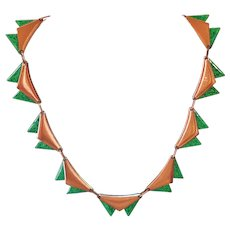 Renoir 1950s Copper and Green Enamel Necklace
