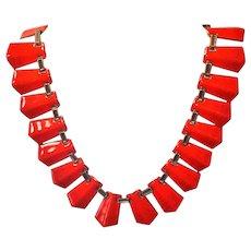 Renoir Matisse Modernist Red Orange Enameled Copper Necklace