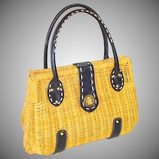 Yellow With Black Trim Vintage Wicker Purse Handbag