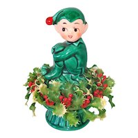 Inarco Christmas Holly Pixie Elf Ceramic Figurine