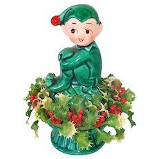 Inarco Christmas Holly Pixie Elf Ceramic Figurine