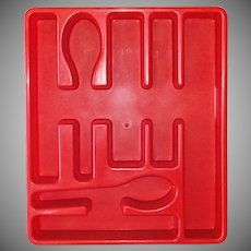 Red Plastic Vintage Silverware Drawer Organizer Tray