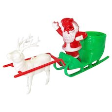 Rosbro Santa Sleigh Reindeer Christmas Candy Container Display