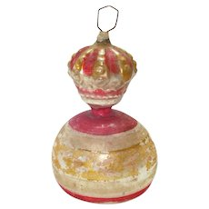Antique German Glass Crown Finial Clapper Bell Christmas Ornament