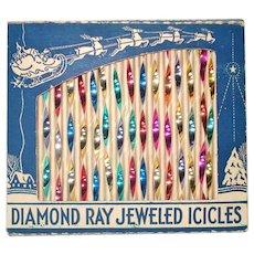 Box Diamond Ray Jeweled Icicles Christmas Ornaments 2-Tone