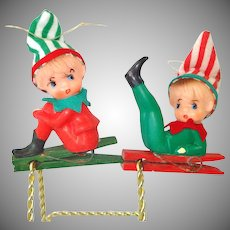Christmas Knee Hugger Pixie Elves on Clothespin Clips