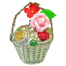 Fancy Flower Basket Wire Wrapped West German Christmas Ornament