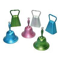 Colorful 1940s Metal Bells Christmas Ornaments