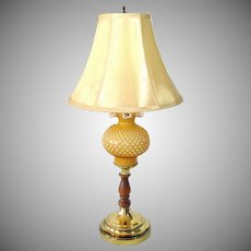 Fenton Cased Honey Amber Table Lamp
