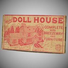 Marx 1953 Tin Litho Dollhouse Breezeway, Furniture, Original Box