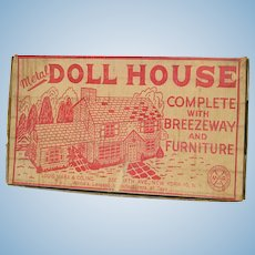 Marx 1953 Tin Litho Dollhouse Breezeway, Furniture, Original Box
