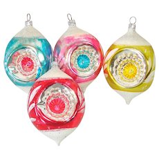 4 West Germany Triple Indent Glass Teardrop Christmas Ornaments
