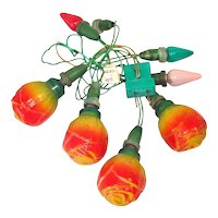 Rose Antique Figural Christmas Bulbs on Vintage C6 Light String