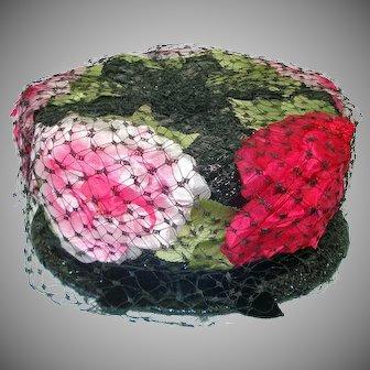 Coralie Pink on Black Peonies Ladies Pillbox Hat