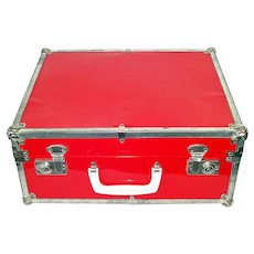 1950s Small Red Metal Suitcase or Child's Travel Case