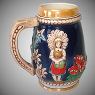 West German Ceramic Alps Couple Beer Stein Luster Cobalt
