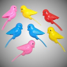 Mid Century Plastic Bird Clothespins  or Clip Christmas Ornaments