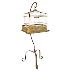 Hendryx Victorian Brass Bird Cage With Stand