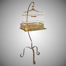 Hendryx Victorian Brass Bird Cage With Stand