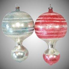 2 Antique German Hot Air Balloon Blown Glass Christmas Ornaments