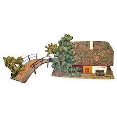Christmas Putz Village Primitive House and Bridge