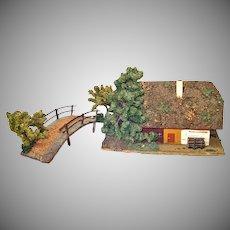 Christmas Putz Village Primitive House and Bridge