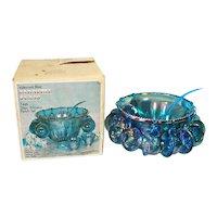 Indiana Blue Carnival Harvest Grape Glass Punch Set in Original Box