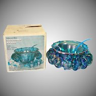Indiana Blue Carnival Harvest Grape Glass Punch Set in Original Box