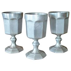 International Silver Paneled Pewter Water Goblets Set of 3