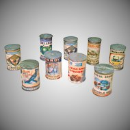 9 Miniature Dollhouse Canned Food Cans