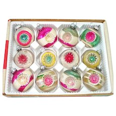 Box 1950s USA Double Indent Glass Christmas Ornaments