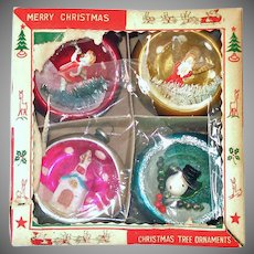 Box 1950s Glass Diorama Indent Scene Christmas Ornaments