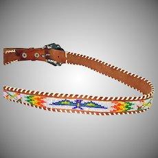 Indian Style Vintage Western Thunderbird Beaded Belt Size 34