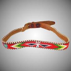 Indian Style Vintage Western Thunderbird Beaded Belt Size 32